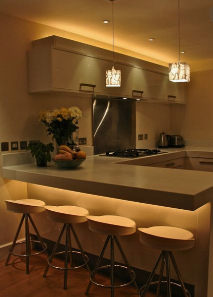 ambient lighting example in a kitchen
