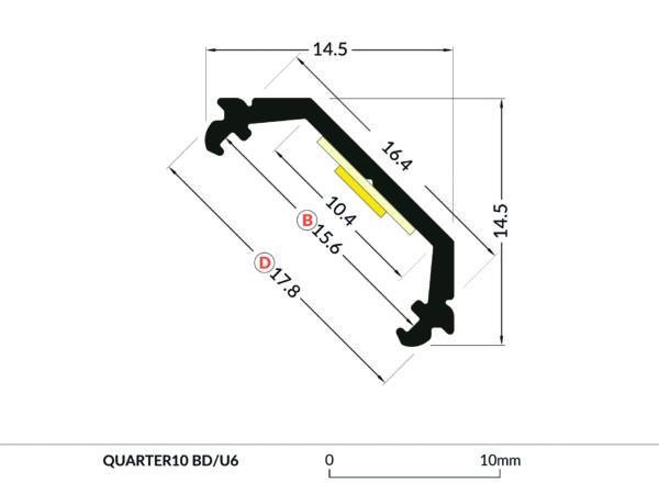 QUARTER ALUMINIUM PROFILE -2m