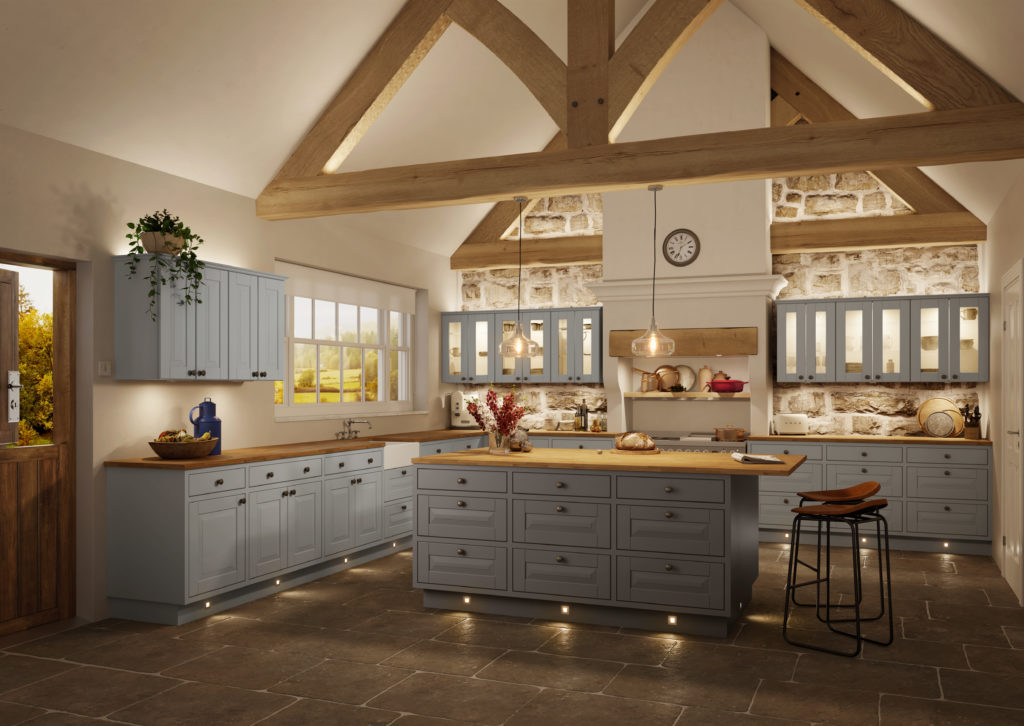 Traditional kitchen with spot lighting
