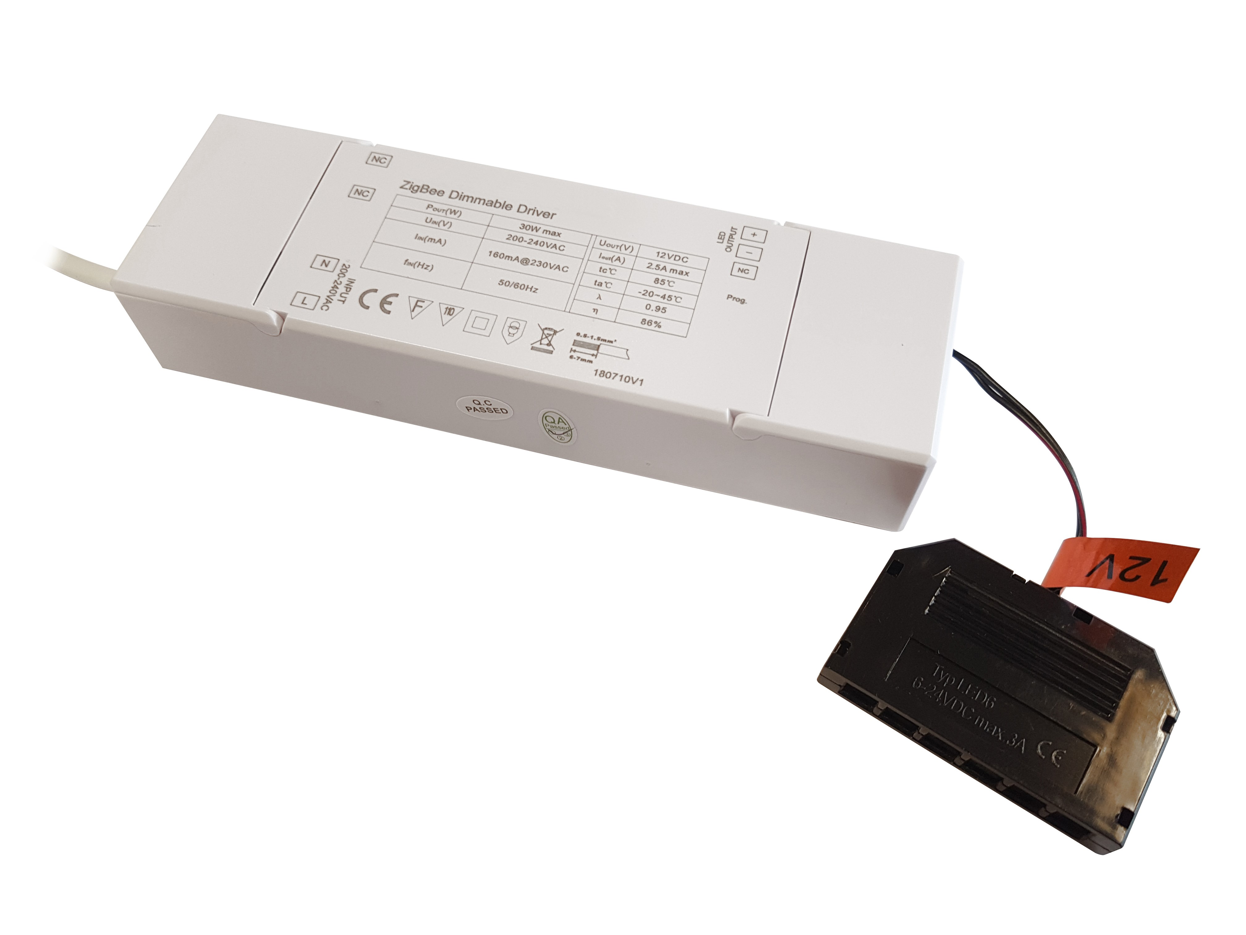 12V LED SMART DRIVER 30W WITH 6-PORT MICRO PLUG CONNECTOR
